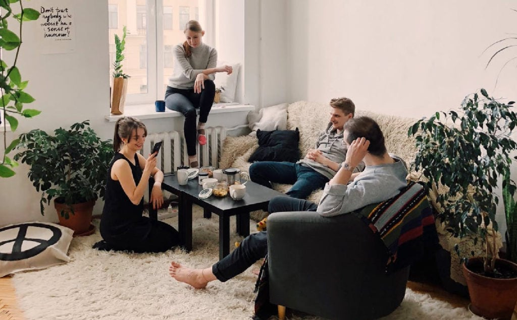People hanging out in a living room