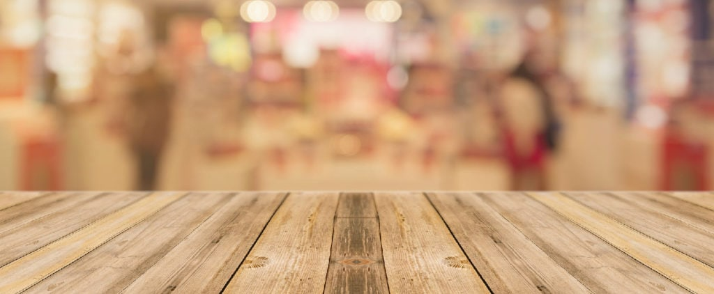 Wooden surface with blurry background